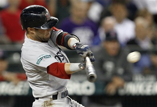 Boston Red Sox's Dustin Pedroia lines out with a pair of runners on base against the Seattle Mariners in the third inning of a baseball game Thursday, June 28, 2012, in Seattle. (AP Photo/Elaine Thompson)