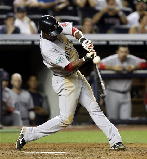 Boston Red Sox's Pedro Ciriaco singles to drive in the winning run during the 10th inning of a baseball game against the New York Yankees on Sunday at Yankee Stadium in New York.