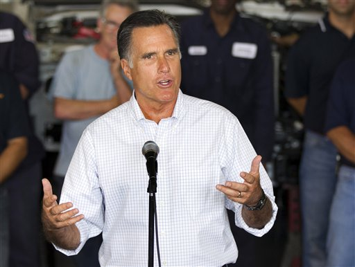 Republican presidential candidate, former Massachusetts Gov. Mitt Romney, talks about jobs during a campaign stop at Middlesex Truck and Coach on Thursday in Roxbury, Mass.
