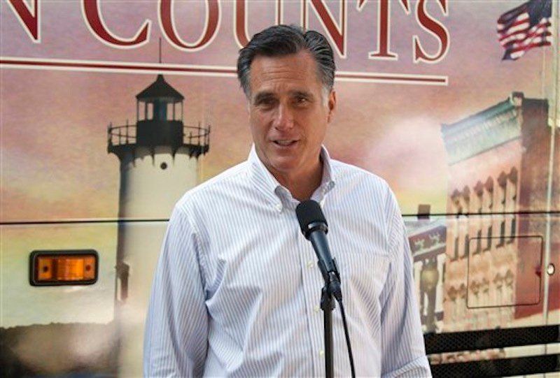 In this June 19, 2012, file photo, Republican presidential candidate, former Massachusetts Gov. Mitt Romney speaks in Holland, Mich. (AP Photo/Evan Vucci)