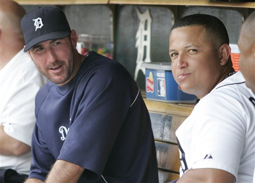Detroit Tigers' Justin Verlander, left, and Miguel Cabrera visit in the dugout during a baseball game against the Kansas City Royals Sunday, July 8, 2012, in Detroit. (AP Photo/Duane Burleson)