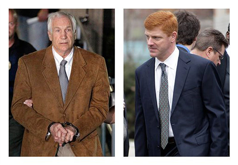 "In this combination of 2012 file photos, former Penn State University assistant football coach Jerry Sandusky, left, leaves the Centre County Courthouse in Bellefonte, Pa. in handcuffs, and former Penn State assistant football coach Mike McQueary waits in line for a public viewing for Penn State football coach Joe Paterno in State College, Pa. A man who claims to be the unknown victim molested in a Penn State shower by Sandusky in a case that led to Paterno's firing intends to sue the university for its ""egregious and reckless conduct"" that facilitated the abuse, his lawyers said Thursday, July 26, 2012. The identity of so-called Victim 2 has been a central mystery in the Sandusky case, and jurors convicted Sandusky last month of offenses related to him judging largely by the testimony of McQueary, who was a team graduate assistant at the time and described seeing the attack. (AP Photo/Gene J. Puskar)"