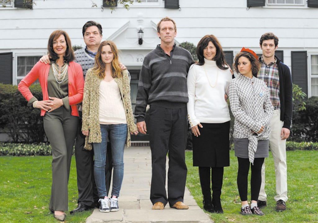 "From left, Allison Janney, Oliver Platt, Leighton Meester, Hugh Laurie, Catherine Keener, Alia Shawkat and Adam Brody pose in ""The Oranges."""