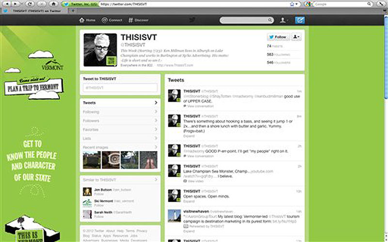 The Twitter page for Vermont Tourism is seen on Thursday, July 26, 2012. Copying Sweden, Vermont's tourism department has launched a new social media campaign that relies on its residents to tweet about why Vermont is a great place live, work and visit.The first tweeter, Ken Millman, who lives in Alburgh and works in Burlington, has tweeted about fishing, his commute and visiting his mother in Quebec.(AP Photo/Toby Talbott)