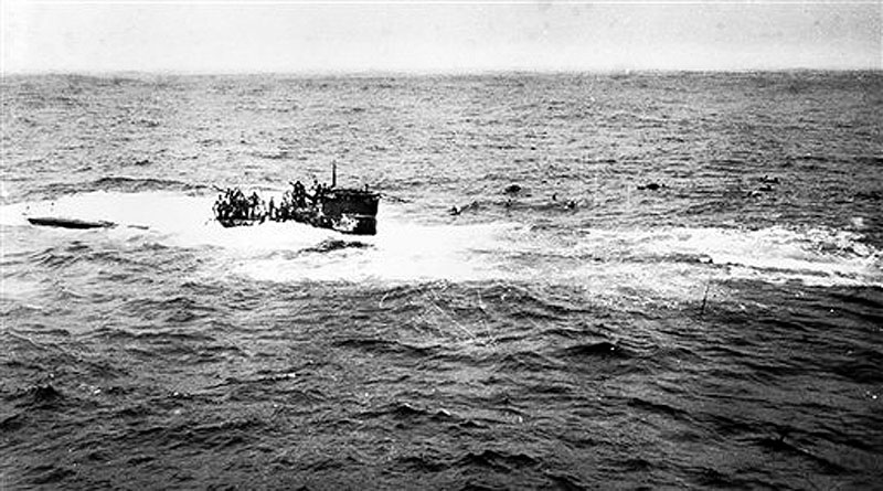 This April 16, 1944 photo provided by the U.S. Navy, posted on a U.S. Coast Guard web site, shows crewmen of German submarine U-550 abandoning ship in the Atlantic Ocean after being depth charged by the USS Joyce, a destroyer in an Allied convoy that the submarine attacked.†A team of explorers found the U-550, a World War II-era German submarine, Monday, July 23, 2012, on the floor of the Atlantic about 70 miles south of Nantucket Island, Mass. (AP Photo/U.S. Navy)
