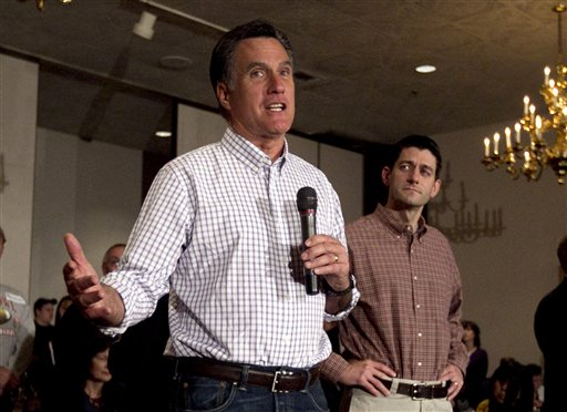 In this March 30, 2012 file photo, Republican presidential candidate Mitt Romney, accompanied by House Budget Committee Chairman, Rep. Paul Ryan, R-Wis., speaks in Milwaukee, Wis. Romney could name his running mate by the end of the week, a top adviser said today. Ryan is one of numerous politicians being considered.