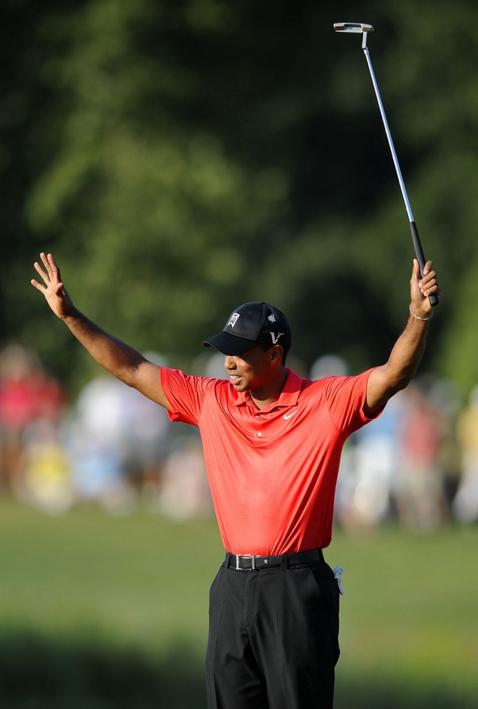 MILESTONE WIN? The PGA Tour announced that his victory at the AT&T National on Sunday was the 100th of Tiger Woods' career. How they came to that number is just a bit confusing.