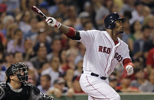 Boston Red Sox's Carl Crawford takes a swing in a game against the Chicago White Sox on July 16.