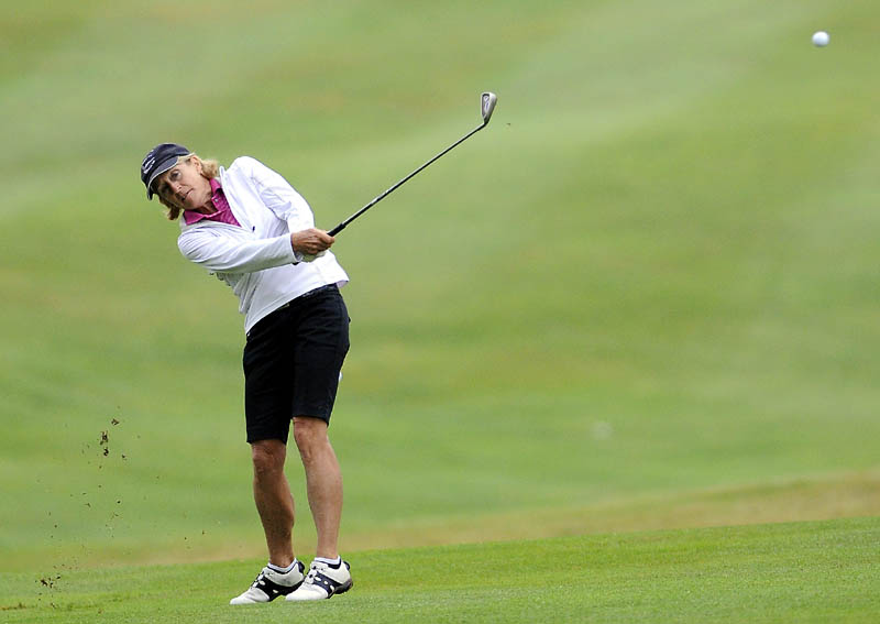 TAKE THE SHOT: Liz Wiltshire shot 18-over par 90 in the first round of the Maine Women's Amateur on Monday at the Augusta Country Club in Manchester.