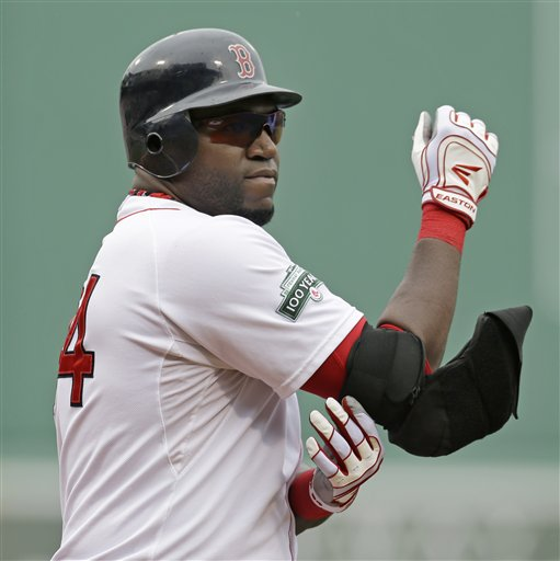 Boston Red Sox designated hitter David Ortiz takes off his elbow protector after his at-bat in the first inning of the first baseball game against the New York Yankees in a day-night doubleheader at Fenway Park in Boston Saturday, July 7, 2012. (AP Photo/Elise Amendola)