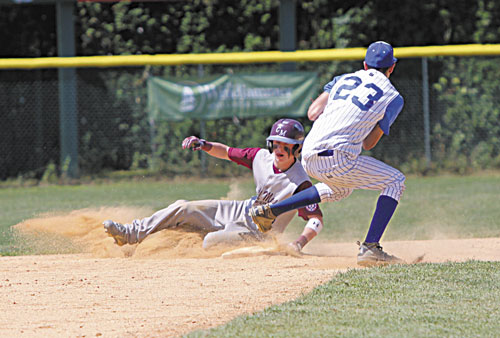 SAFE: Central Maine's Trevor Gettig slides safely into second base ahead of the tag by Leominster, Mass. player Chris Lomax.
