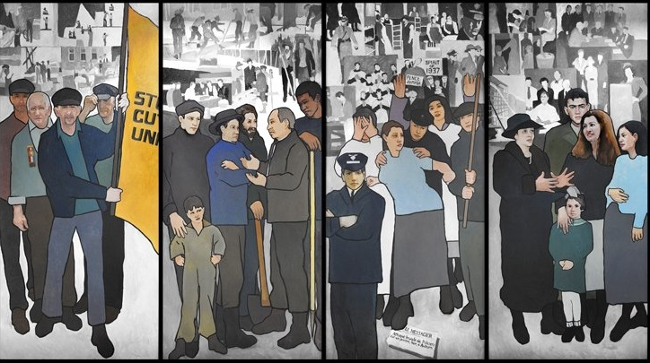 Four of the 11 panels that made up the labor history mural that Gov. Paul LePage ordered to be removed from the Maine Department of Labor in March 2011.