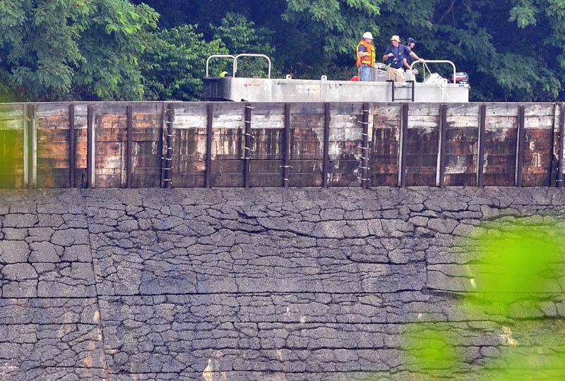 Searchers in a boat search above the Brookfield dam in Winslow for evidence of missing toddler Ayla Reynolds on Tuesday.