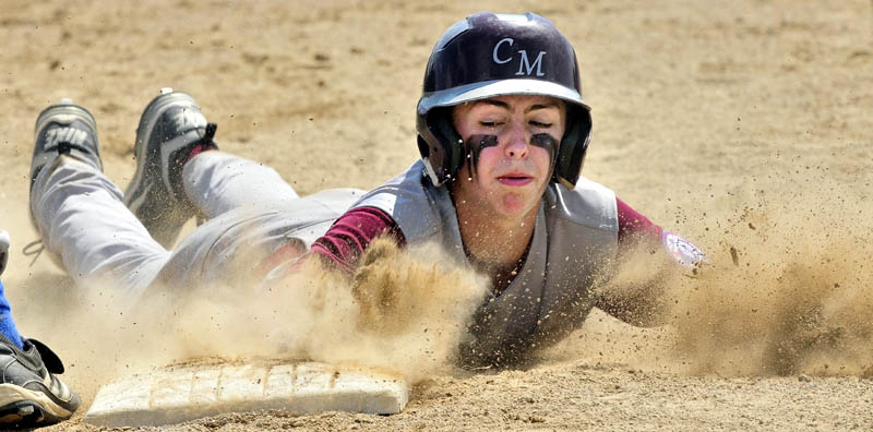 Central Maine's Jared Cunningham slides back to first base during the 14-year-old Babe Ruth state champion tournament Sunday in Fairfield. Central Maine lost the first game 10-2 to Midcoast, but rebounded to win 4-1 in the if necessary game to win the state title.