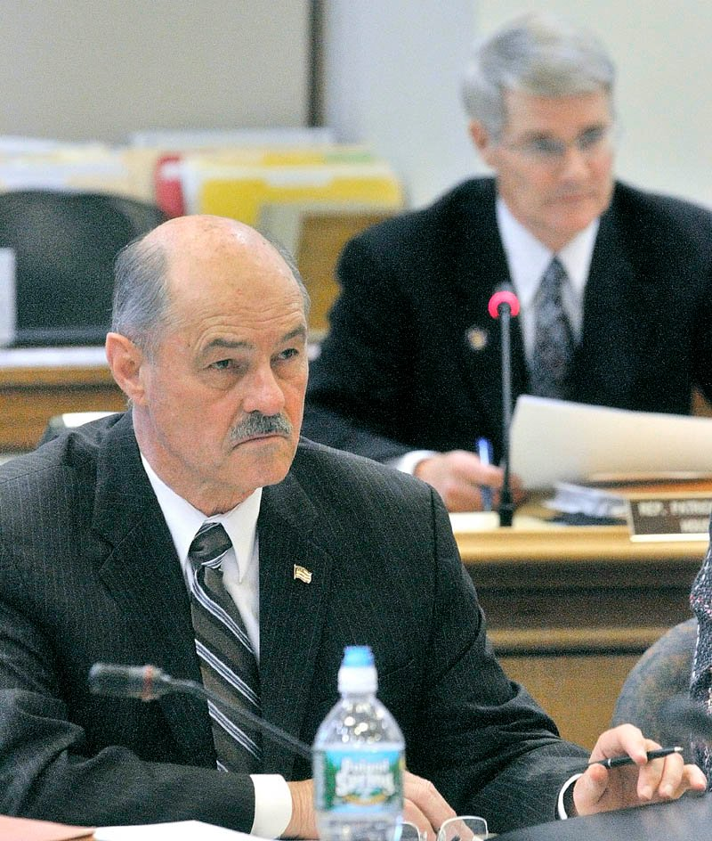 Rep. Patrick Flood, R- Winthrop, right, will take on Democrat David Bustin in a bid to fill the seat held by Sen. Earle McCormick, R-West Gardiner, foreground.
