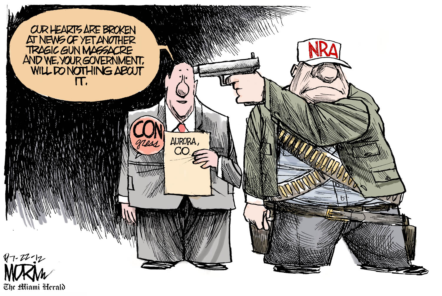 National Rifle Association in the USA and mass shootings, cartoon