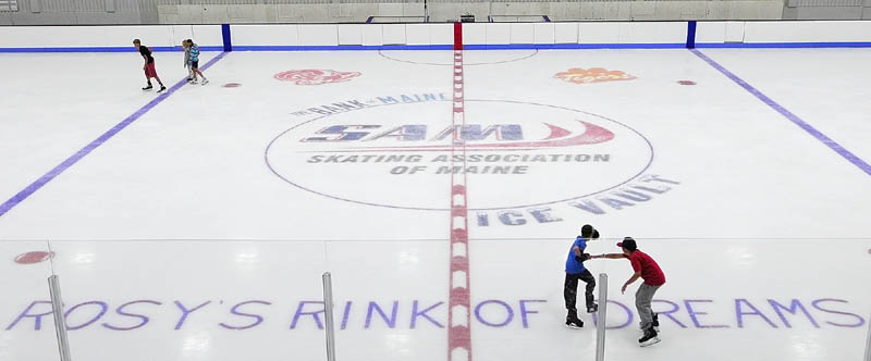 Skaters try out the new ice in The Bank of Maine Ice Vault on Saturday in Hallowell. The ice rink built on the former site of the Kennebec Ice Arena had a soft open on Saturday morning and people got to tour the building and even try out the ice surface.The official grand opening will be in two weeks as part of Old Hallowell Day events.