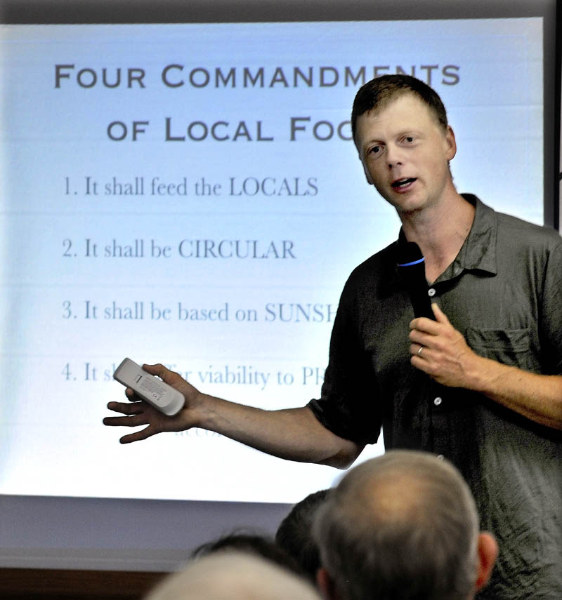 The 2012 Kneading Conference keynote speaker Ben Hewitt talks about his four commandments regarding local food in Skowhegan on Thursday.