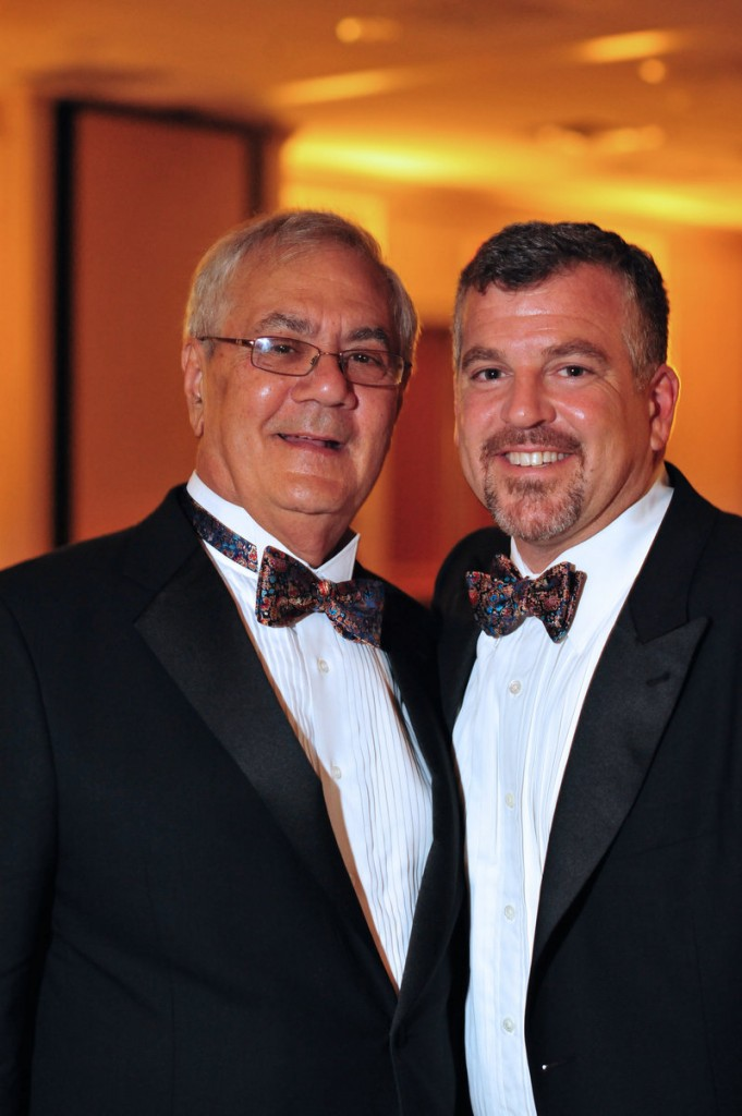 U.S. Rep. Barney Frank, D-Mass., left, and Jim Ready pose at their wedding reception Saturday. The longtime partners were married in a ceremony officiated by Massachusetts Gov. Deval Patrick in Newton, Mass.