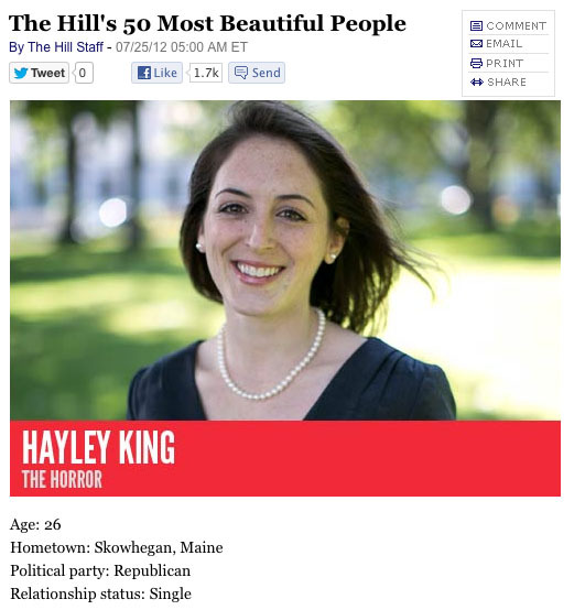 "This image from the online version of The Hill shows the top of the story about Hayley King, a Skowhegan native who works for Sen. Olympia Snowe. The phrase ""The Horror"" beneath her name is a joke based on the fact that she shares a last name with horror writer Stephen King."