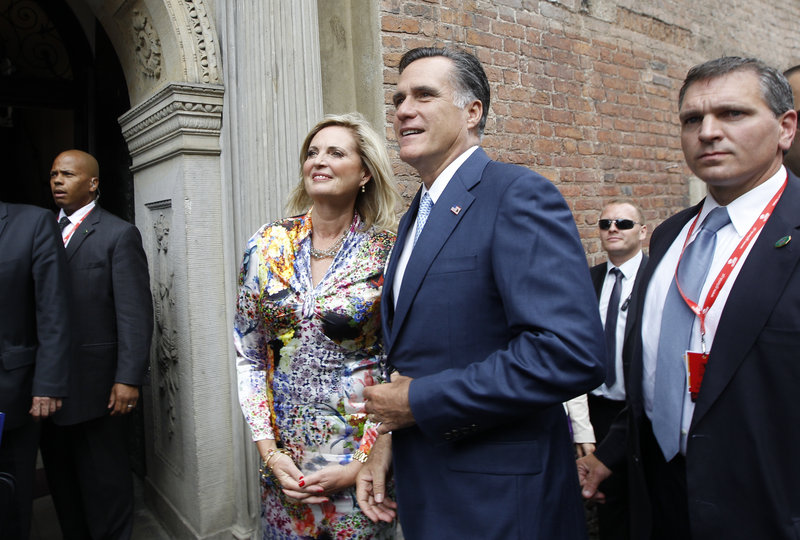 """Mitt and Ann Romney arrive in Gdansk, Poland, Monday. In Israel, the GOP nominee's musings on """"culture"""" sparked Palestinian anger."""