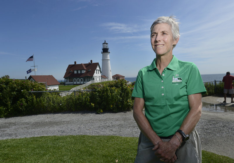 Joan Benoit Samuelson will run the Beach to Beacon on Saturday, ending at Portland Head Light, behind her. It will be the third time the Olympic gold medalist has run the 10-kilometer race she founded 15 years ago.