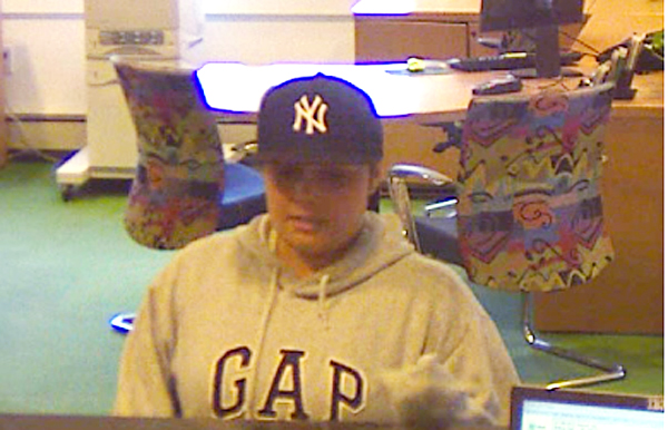 Surveillance image of suspected TD Bank robber.
