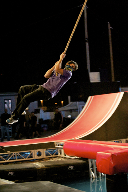 "Jesse Villareal attempts to complete the world's hardest obstacle course during the ""American Ninja Warriors"" finals competition in Las Vegas."