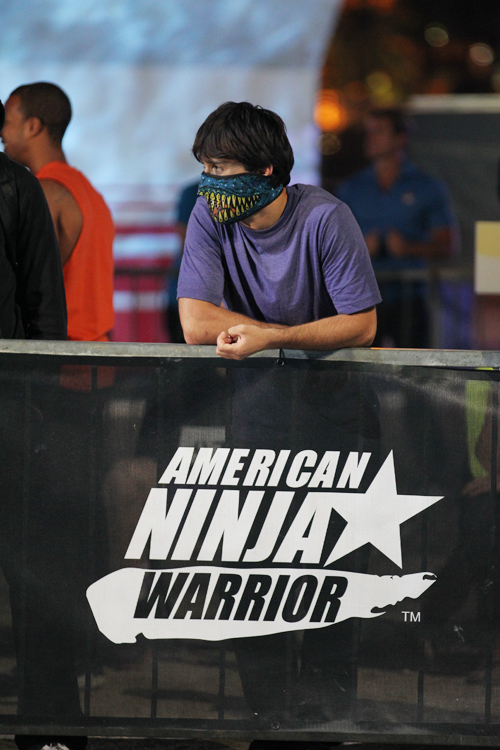 "Jesse Villareal of Westbrook watches the competition at the ""American Ninja Warrior"" finals, which was broadcast on Sunday."