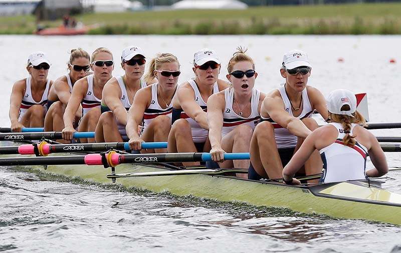 U.S. rowers, including Boothbay Harbor's Eleanor Logan, fourth from the right, stroke during a women's rowing eight heat in Eton Dorney, near Windsor, England Sunday at the 2012 Summer Olympics. The U.S. women won the heat and advanced to Thursday's final. 2012 London Olympic Games Summer Olympic games Olympic games Spo