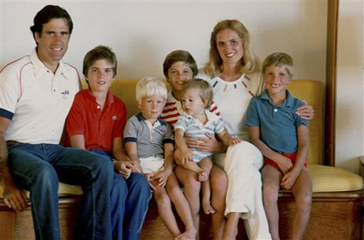 """FILE - This 1982 file photo provided by the Romney for President, Inc., location unknown, shows the Romney family during summer vacation: from left, Mitt, Tagg, Ben, Matt, Craig, Ann and Josh Romney. To the yearbook editors at the all-girl Kingswood School, Ann Lois Davies' destiny seemed pretty obvious. """"The first lady,"""" the entry beside the stunning blond beauty's photo in the 1967 edition of """"Woodwinds"""" concluded. """"Quiet and soft spoken."""" (AP Photo/Courtesy of Romney Family)"""