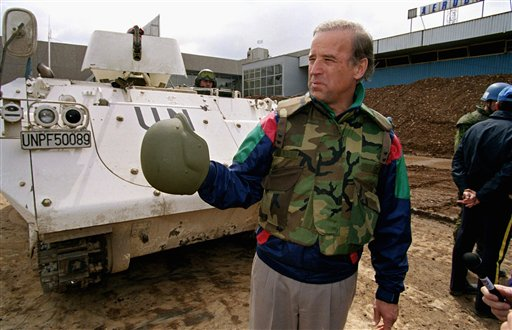 ADVANCE FOR SUNDAY, AUG. 19 AND THEREAFTER - FILE - In this April 9, 1993, file photo then-Sen. Joe Biden, D-Del. stands in front of a Danish armored personnel carrier at the UN-controlled Sarajevo Airport, making a statement about his trip to the besieged Bosnian capital. In May, after Joe Biden tripped up his boss by voicing support for same-sex marriage while the president remained on the fence, there was speculation about whether the remarks were spontaneous or deliberate. But to those who know Biden, there was no doubt. He was just speaking his mind. (AP Photo/Michael Stravato, File) Bosnia;conflict;Democrats;flak;jacket;in;foreign;countries;politicians;politics;Yugoslavia;xvppicx