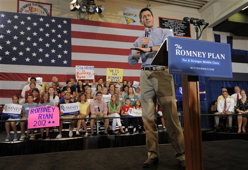 Republican Vice Presidential candidate, Rep. Paul Ryan, R-Wis. talks to supporters during a campaign rally in Lakewood, Colo., Tuesday, Aug. 14, 2012. (AP Photo/Jack Dempsey)