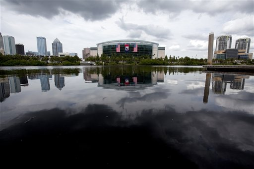 In this photo taken Aug. 22, 2012, the Tampa Bay Times Forum, site of the 2012 Republican National Convention, is viewed across the water of the Garrison Channel from Harbour Island in downtown Tampa, Fla. Weather forecasts continue to show Florida in the path of Tropical Storm Isaac. (AP Photo/The Tampa Bay Times, Carolina Hidalgo) TAMPA OUT; CITRUS COUNTY OUT; PORT CHARLOTTE OUT; BROOKSVILLE HERNANDO OUT; USA TODAY OUT; MAGS OUT Add Keywords