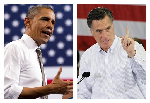 This combination of 2012 file photos shows President Barack Obama, left, and Republican presidential candidate Mitt Romney in Boulder, Colo. and Cape Canaveral, Fla., respectively.
