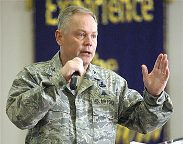 Air Force Col. Glenn Palmer, commander of the 737th Training Group at Lackland AFB, speaks to trainees in this March 2, 2012, photo.