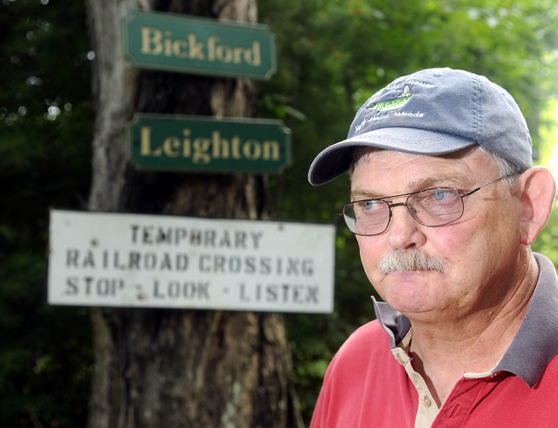 Dick Bickford is one of many Belgrade residents upset about proposed fees that the railroad wants to charge them for crossing the rail to reach their homes.