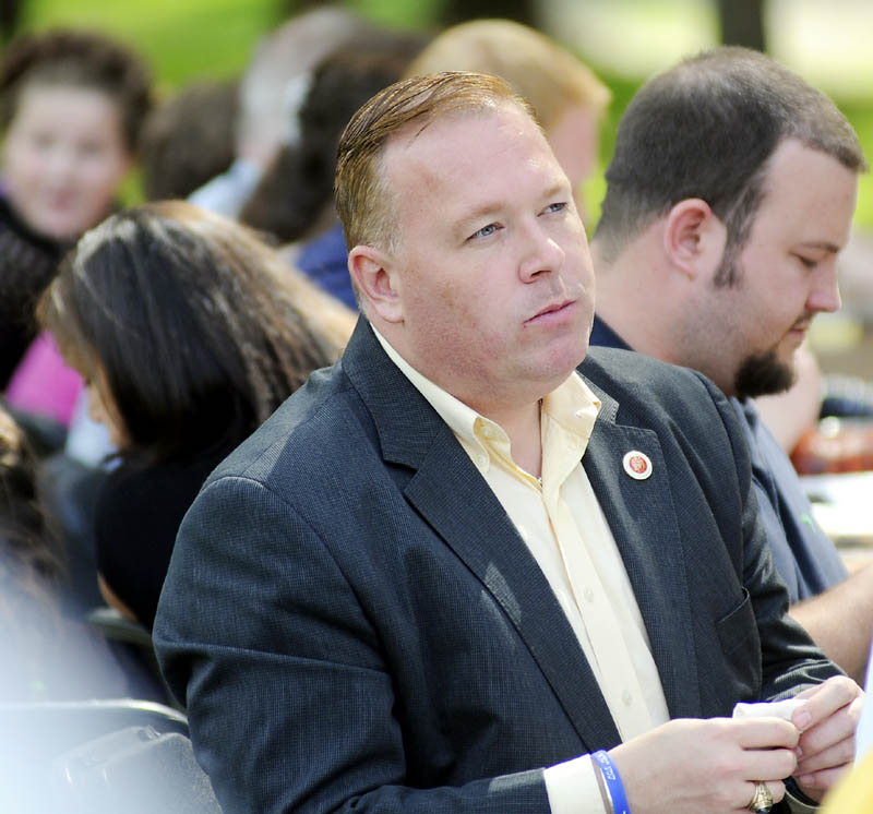New York City Councilman Dan Halloran listens to a speaker Sunday at the Maine Liberty Caucus' 3rd annual Calvin Coolidge Clambake in Sidney. Halloran spoke during the event.