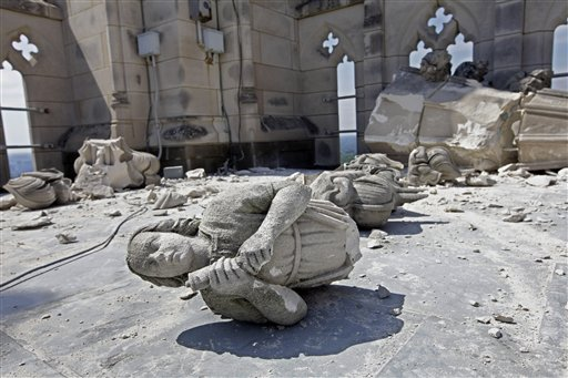 In this Aug. 24, 2011, photo, damage to the Washington National Cathedral is seen the day after a earthquake shook Washington and much of the East Coast.