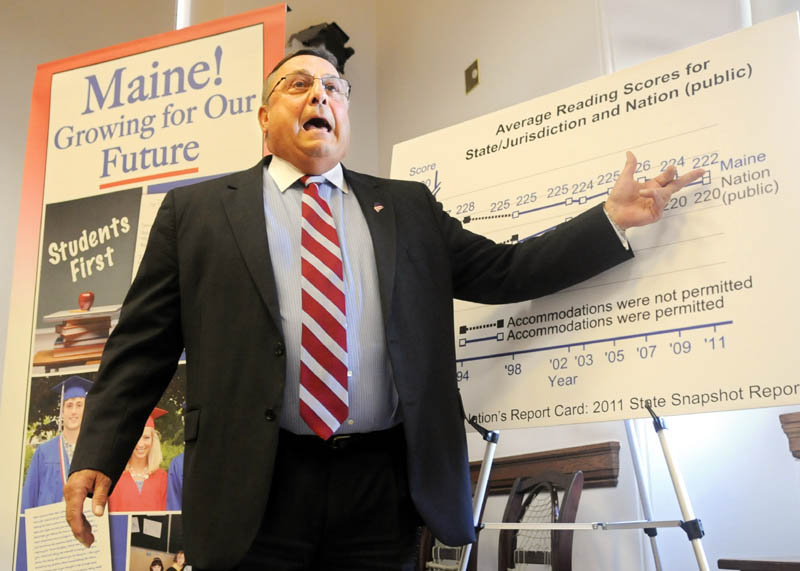"""Governor Paul LePage talks during a press conference about a proposed education rule last week in Augusta. LePage's remark during the meeting --- """"I don't care where you go in this country -- if you come from Maine, you're looked down upon now."""" -- has outraged many Mainers."""
