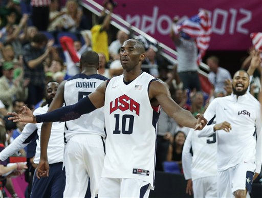 USA's Kobe Bryant celebrates a 3-pointer against Australia during a men's quarterfinals basketball game Wednesday at the 2012 Summer Olympics in London. 2012 London Olympic Games Summer Olympic games Olympic games Sports Events XXX Olympiad