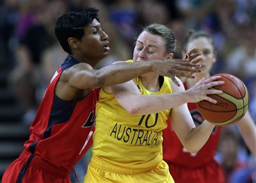 USA's Angel McCoughtry, left, pressures Australia's Kristi Harrower (10) during a semifinal women's basketball game Thursday at the 2012 Summer Olympics. 2012 London Olympic Games Summer Olympic games Olympic games Sports Events XXX Olympiad