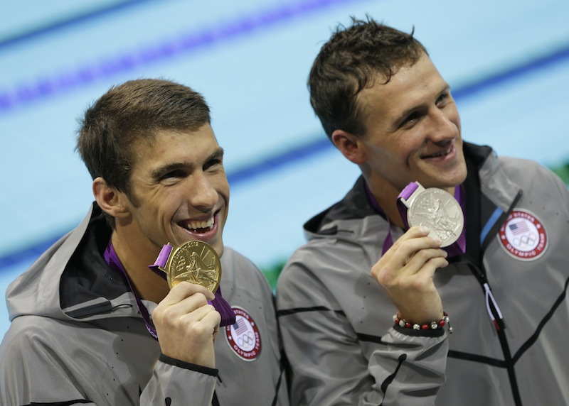 United States' Michael Phelps, left, and United States' Ryan Lochte pose with their medals for the men's 200-meter individual medley swimming final at the Aquatics Centre in the Olympic Park during the 2012 Summer Olympics in London, Thursday, Aug. 2, 2012. (AP Photo/Michael Sohn) (AP Photo/Michael Sohn) 2012 London Olympic Games Summer Olympic games Olympic games Sports Events XXX Olympiad