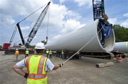 The first wind turbine components arrive at the Kingdom Community Wind project in Lowell, Vt., on July 16.