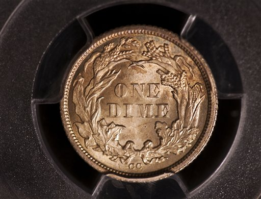 "The ""tails"" side of the 1873 dime that sold at auction in Philadelphia."