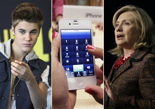 From left, entertainer Justin Bieber, an iPhone, and Secretary of State Hillary Rodham Clinton. This year's Beloit College Mindset List, a nonscientific compilation, is meant to remind teachers that college freshmen, born mostly in 1994, see the world in a much different way.
