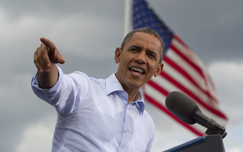 President Obama speaks at a campaign event in Rochester, N.H., on Saturday. It was Obama's third visit to the state this year.