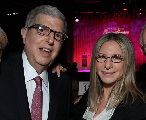 """Composer Marvin Hamlisch, left, and Barbra Streisand in a Nov. 8, 2011, photo. Hamlisch wrote the song """"The Way We Were,"""" which became a huge hit for Streisand."""
