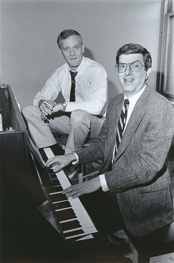 Composer Marvin Hamlisch, right, at the piano with lyricist Howard Ashman in a Sept. 9, 1986, photograph.