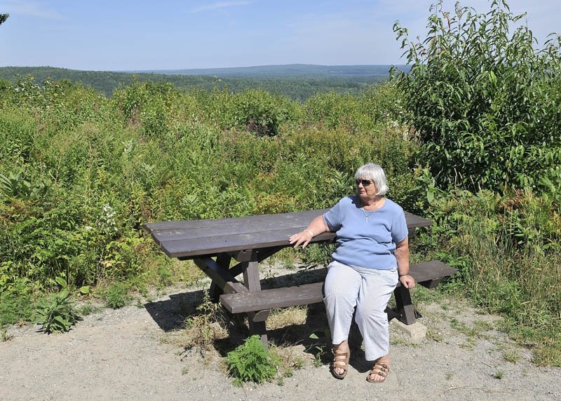 Anne Palmer sits at Blueberry Hill Scenic Area in Rome on Tuesday.